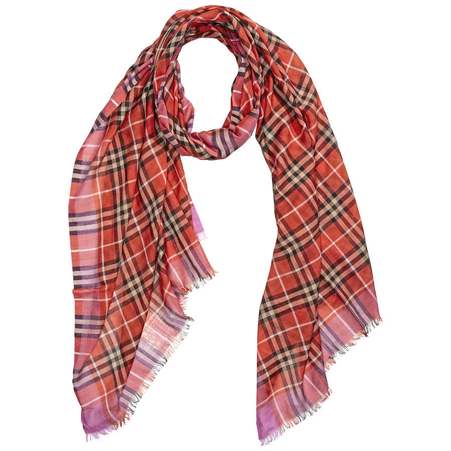 Burberry Check Wool Silk Scarf In Bright Orange Red In Orange,red