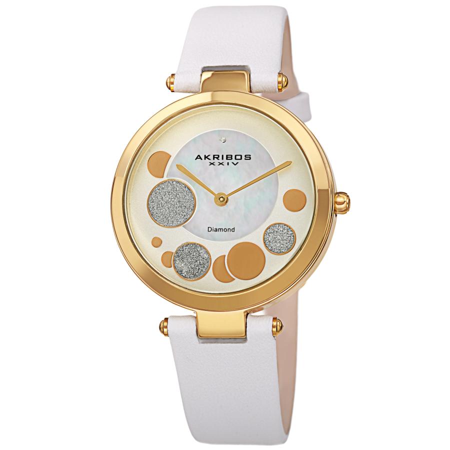 Akribos Xxiv Quartz Diamond White Dial Ladies Watch Ak1069wt In Gold Tone,white