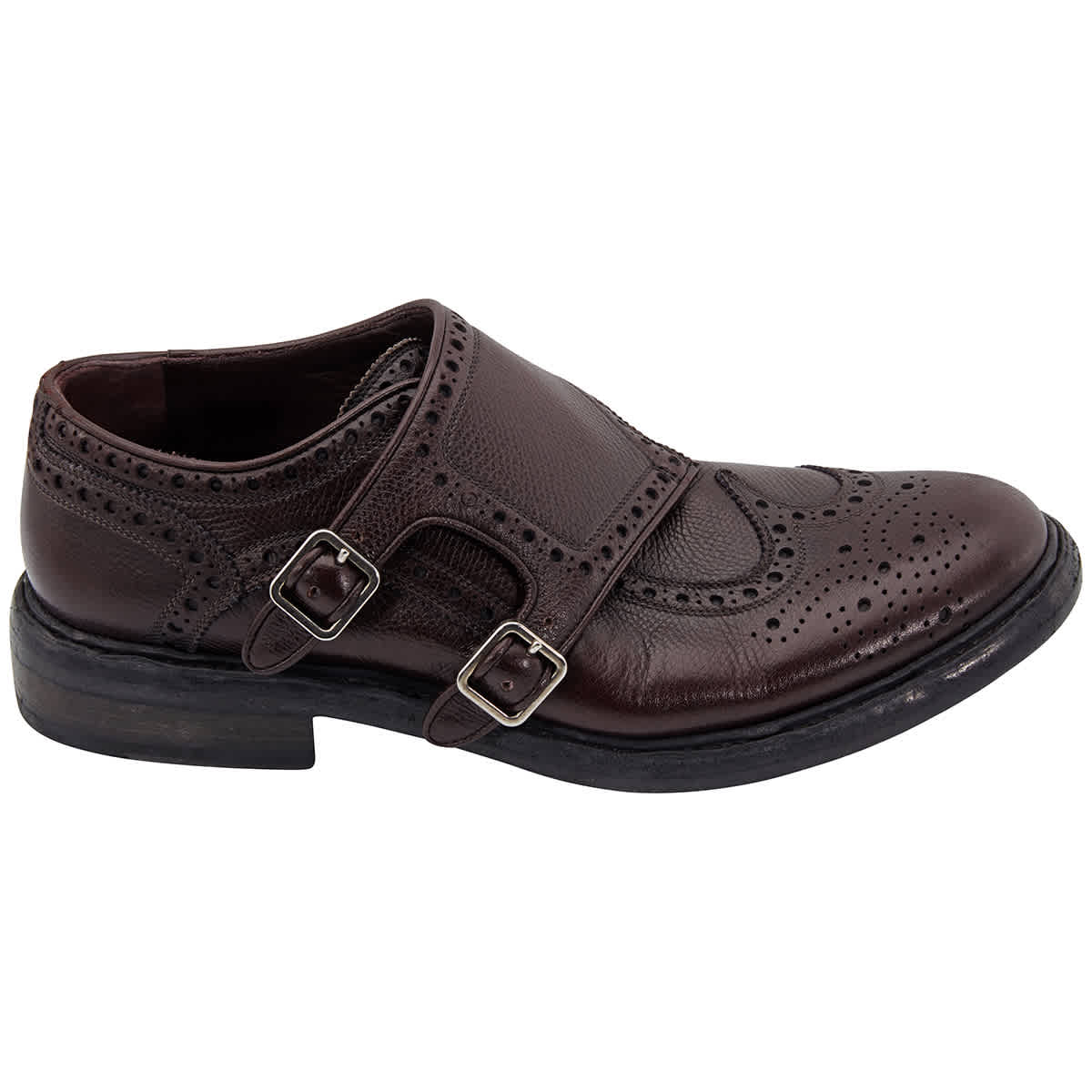 Burberry Burgundy Red Textured Leather Monk Shoes