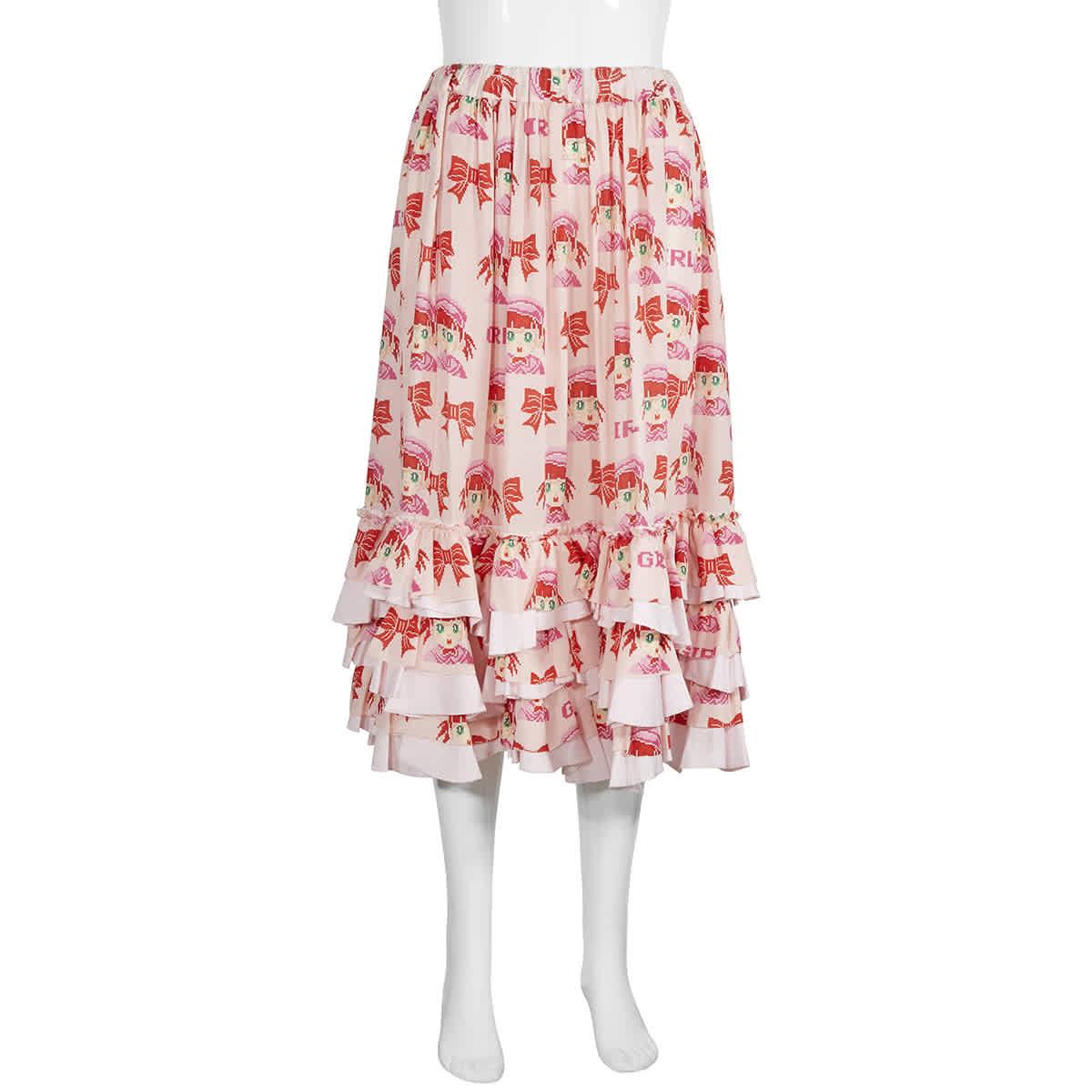 Cdg Girl Girl Ladies Ruffle-layer Skirt In Pink
