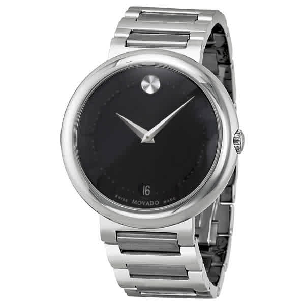 MOVADO CONCERTO BLACK DIAL STAINLESS STEEL MENS WATCH 0606541