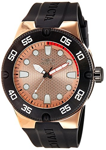 Invicta Pro Diver Rose Dial Black Polyurethane Mens Watch 18025