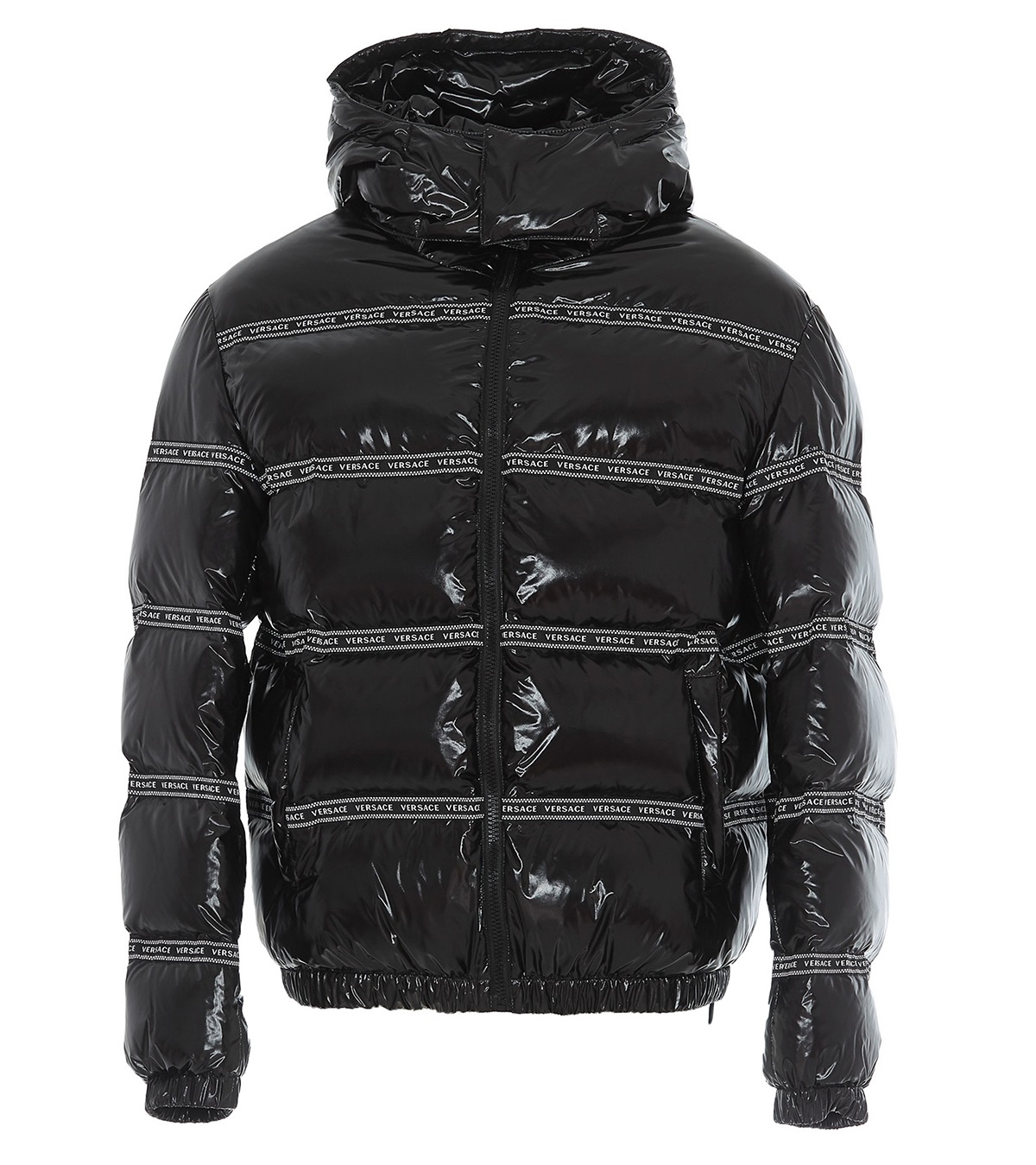 Versace Logo Detail Puffer Jacket In Black