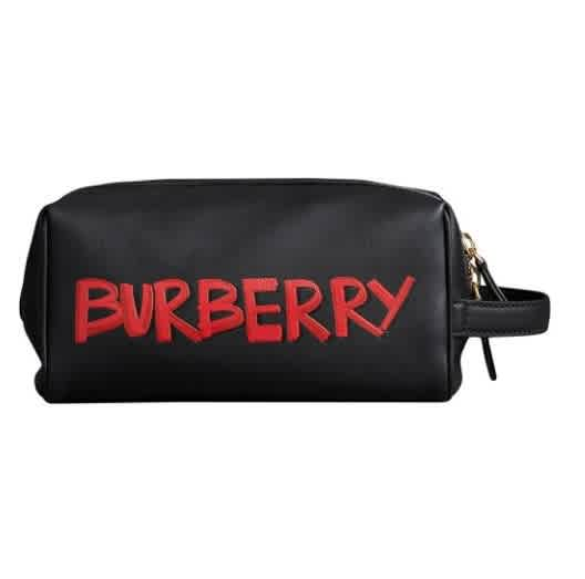 Burberry Graffiti Print Leather Pouch In Black