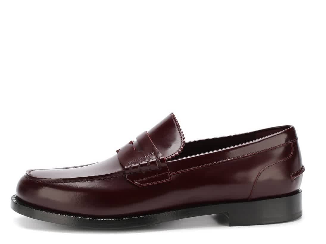 Burberry Mens Bedmont Leather Penny Loafers In Red
