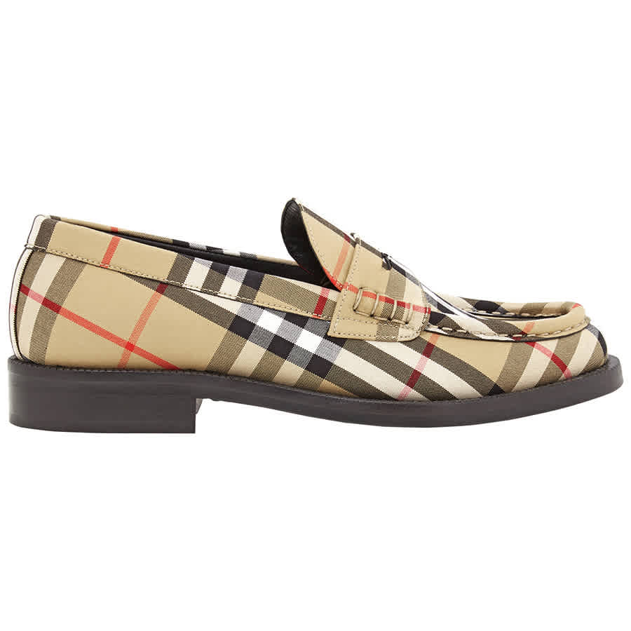Burberry Ladies Vintage Check Camel Bedmont Loafer In Black,white,yellow