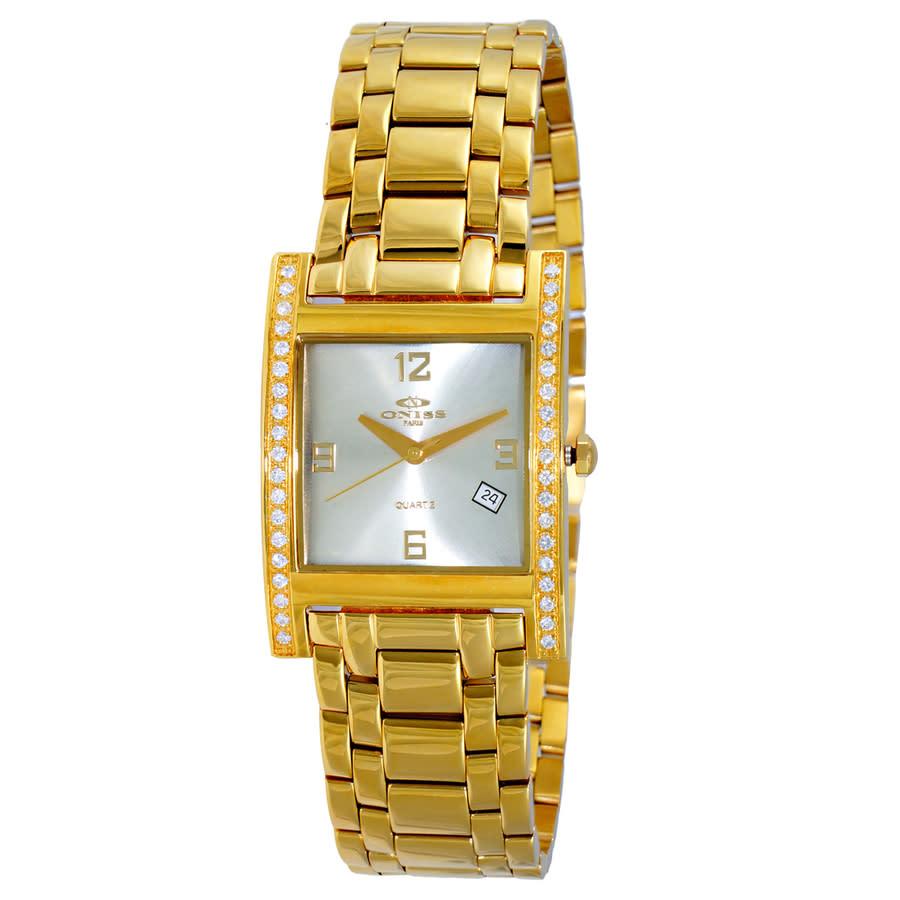 Oniss Quartz Silver Dial Ladies Watch On8300ssgsv In Gold Tone,silver Tone