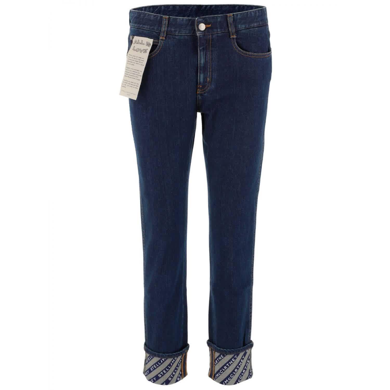 Stella Mccartney Ladies Skinny Boyfriend Logo Jeans In Blue