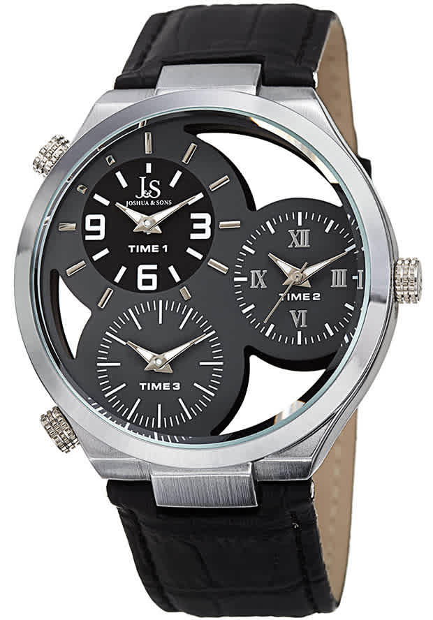 Joshua And Sons Joshua & Sons Grey See Through Dial Mens Watch Jx119gy In Black
