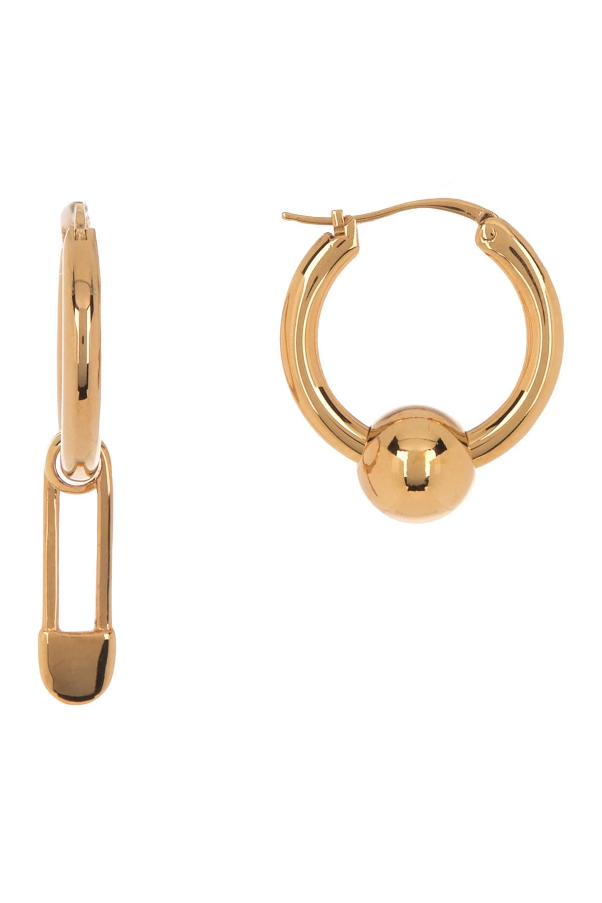 Burberry Ladies Mismatched Huggie Hoop Earrings In Gold