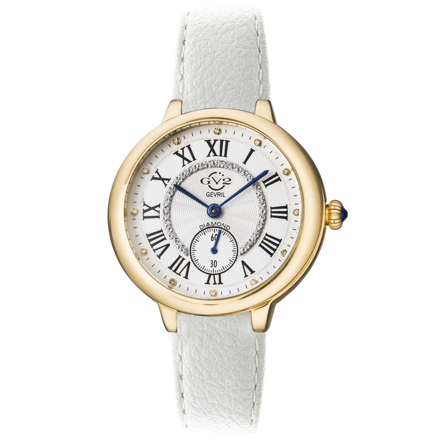 Gv2 By Gevril Rome Vegan Quartz Diamond White Dial Ladies Watch 12202-v1 In Gold