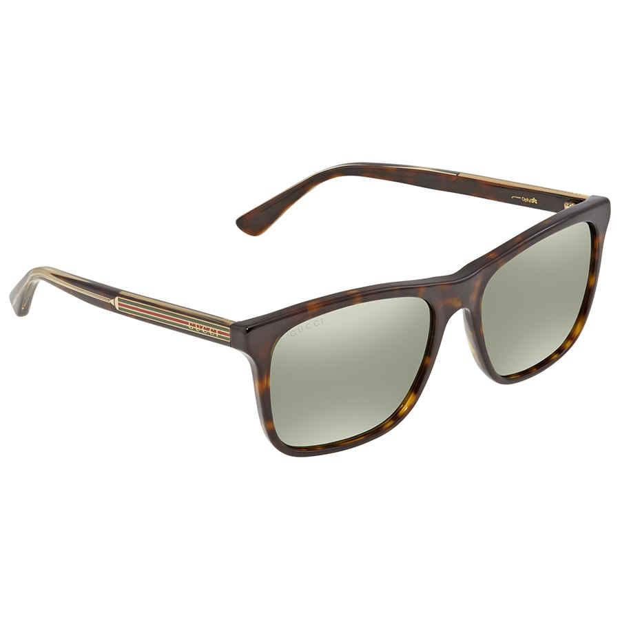 Gucci Green Silver Mirror Rectangular Mens Sunglasses Gg0381s 008 57 In Green,silver Tone