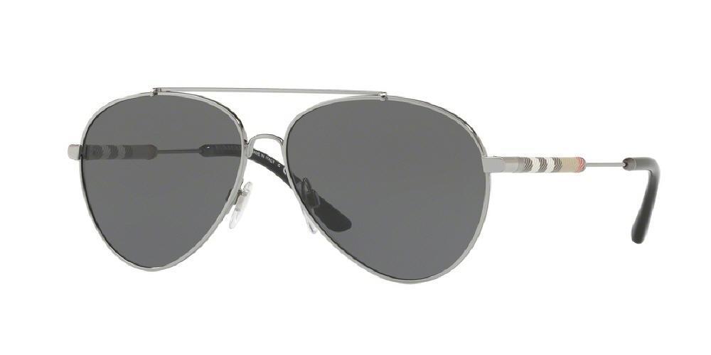Burberry Grey Aviator Ladies Sunglasses Be3092qf-100387-60 In Gray