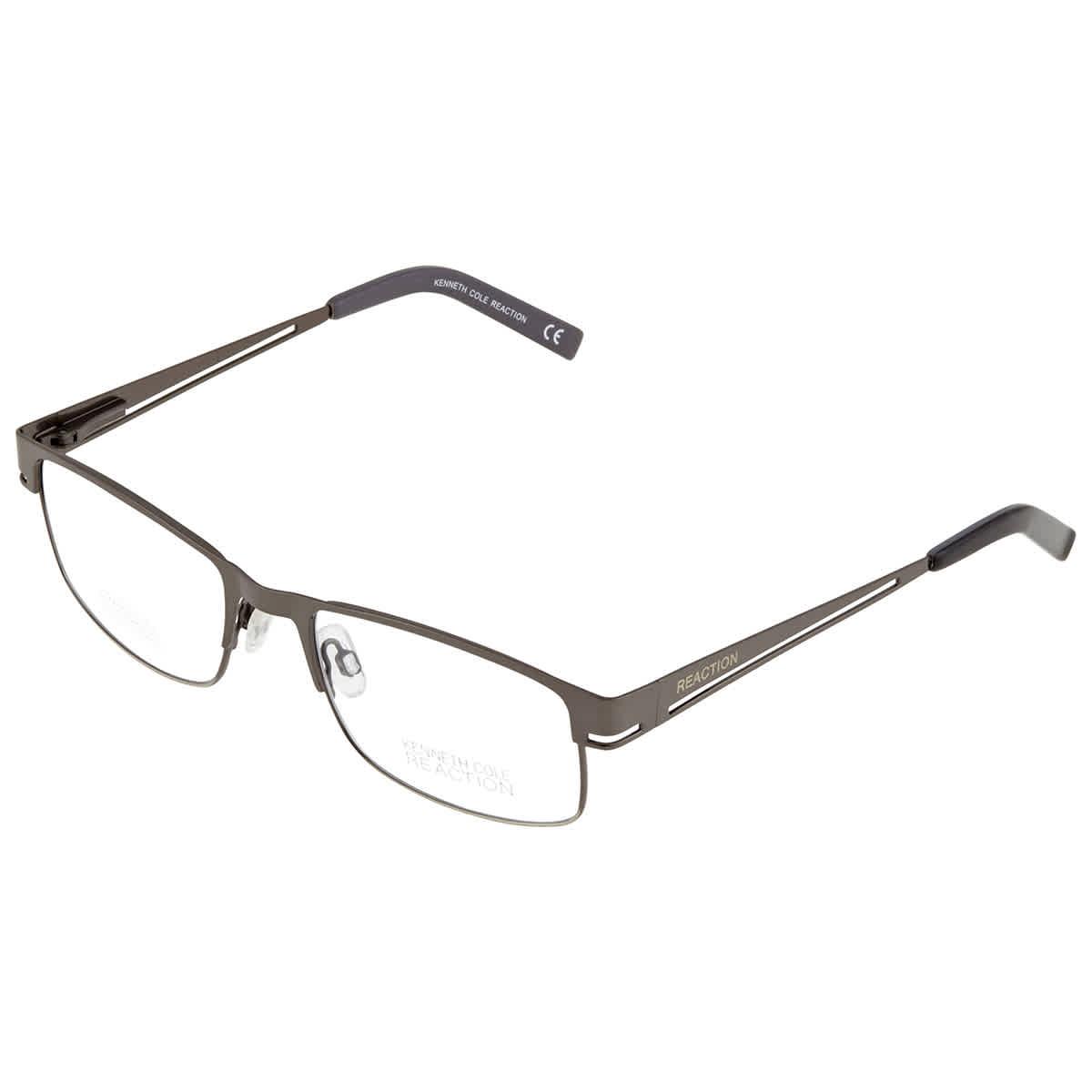 Kenneth Cole Reaction Mens Gunmetal Square Eyeglass Frames Kc0697 9 52 In Brown