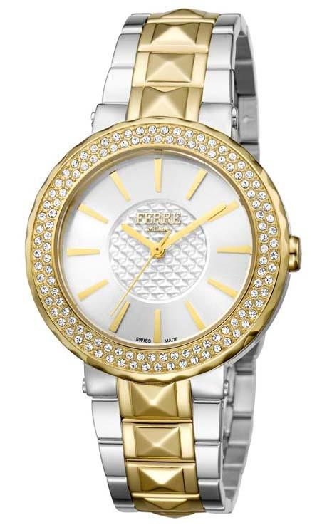 Ferre Milano Silver Dial Ladies Watch Fm1l058m0101 In Gold