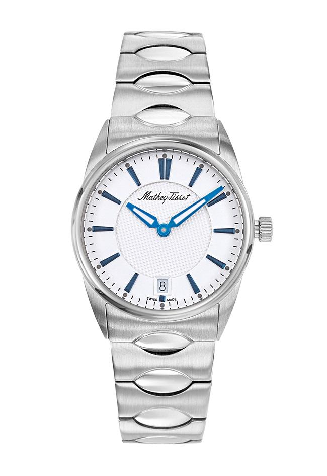 Mathey-tissot Anaconda Quartz White Dial Ladies Watch D791ai In Blue,silver Tone,white
