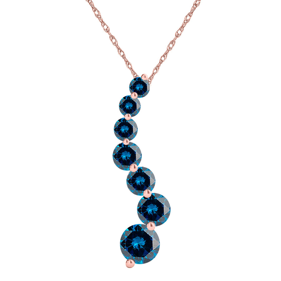 Maulijewels 1.0 Carat Blue Natural Diamond Journey Pendant Necklace In 14k Solid Rose Gold With 18'' Gold Plated In Blue,gold Tone,pink,rose Gold Tone,silver Tone