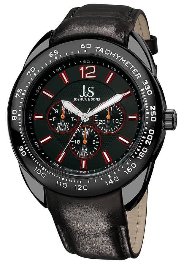 Joshua And Sons Black Dial Black Leather Mens Watch Js-45-bk