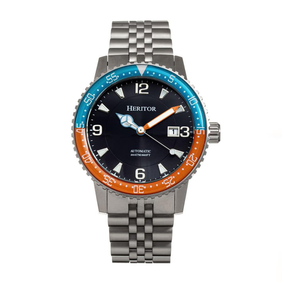 Heritor Dominic Automatic Black Dial Mens Watch Herhr9805 In Black,blue,orange,silver Tone