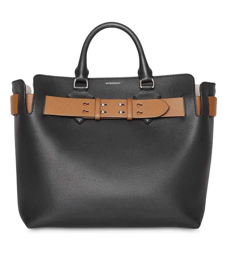 Burberry The Medium Leather Belt Bag In Black,two Tone