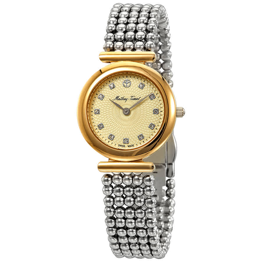 Mathey-tissot Allure Crystal Gold Dial Ladies Watch D539bdi In Metallic