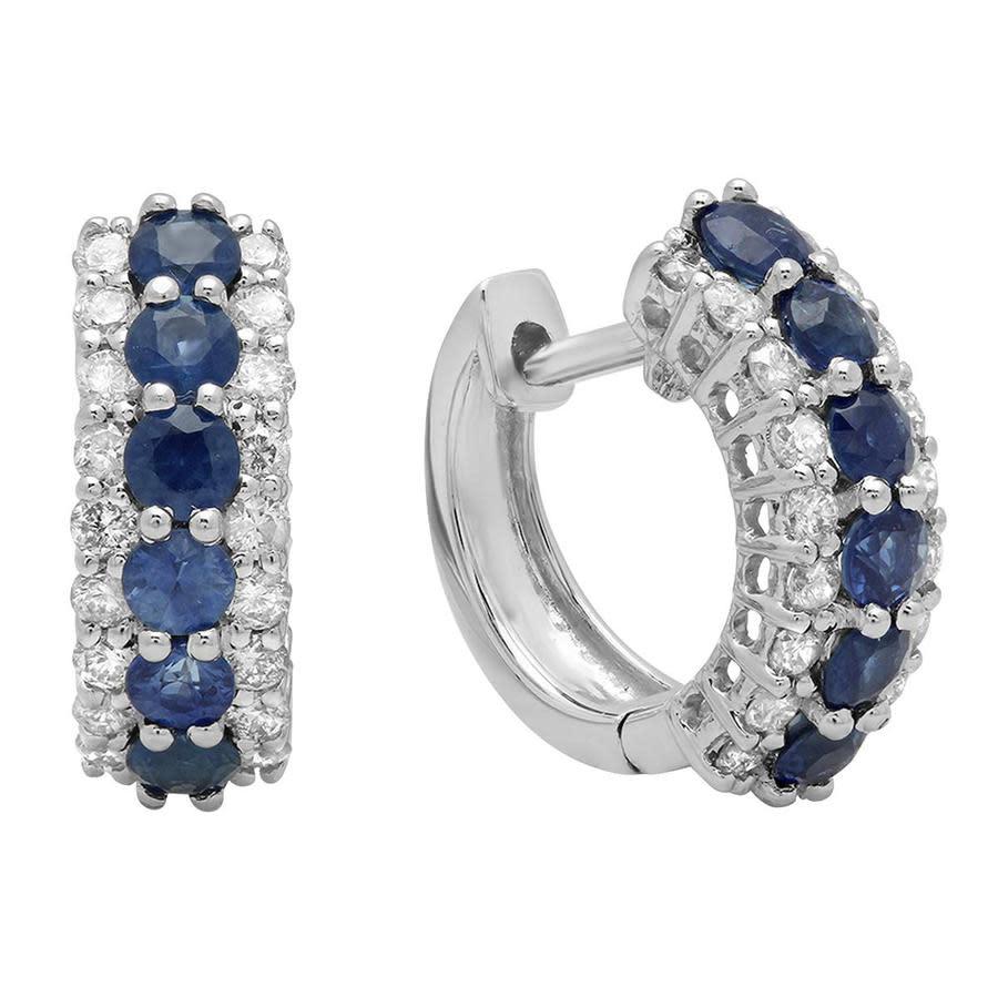 Dazzling Rock Dazzlingrock Collection 10k Round Blue Sapphire & White Diamond Ladies Huggies Hoop Earrings In Blue,gold Tone,white