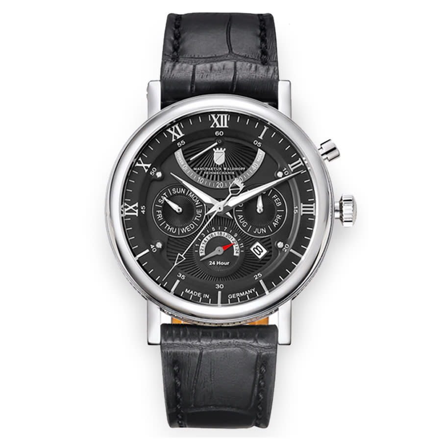 Waldhoff Multimatic Black Dial Black Leather Mens Watch 03f In Black,silver Tone