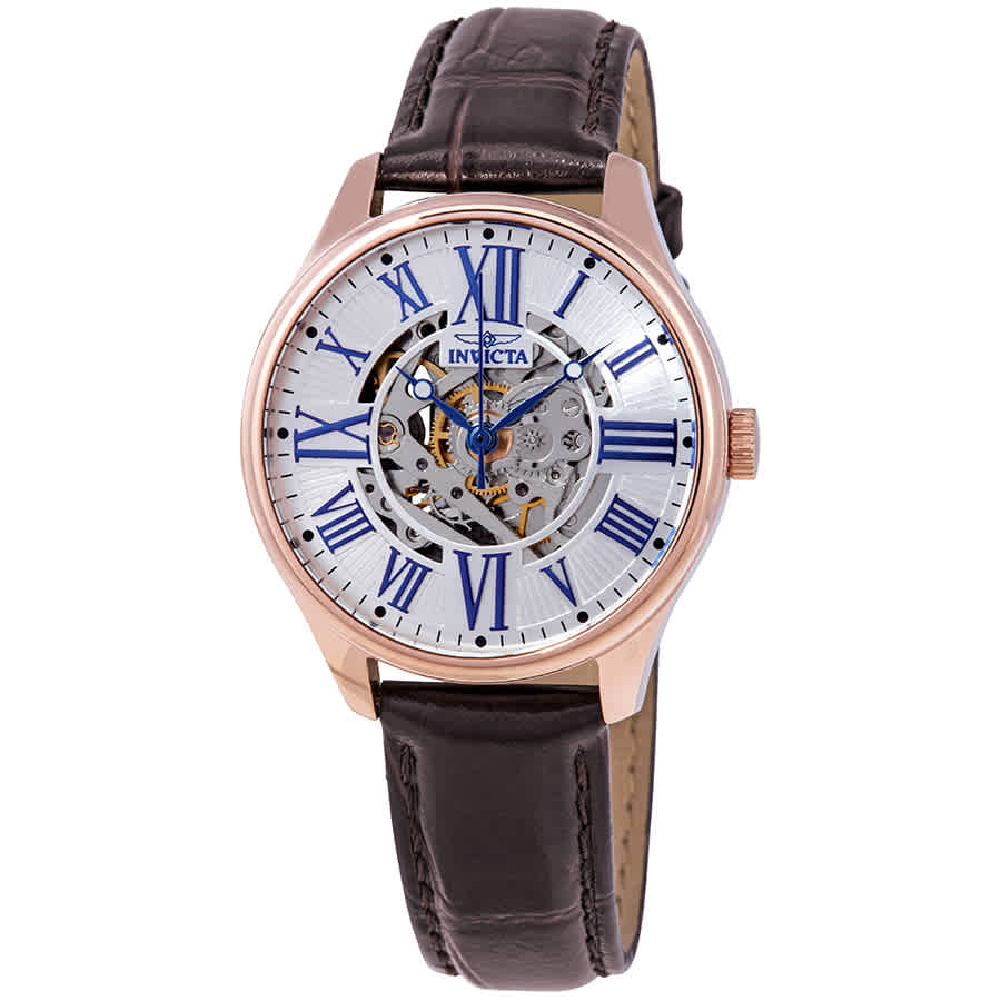 Invicta Vintage Automatic Silver Skeleton Dial Ladies Watch 23660 In Blue,brown,gold Tone,pink,rose Gold Tone,silver Tone