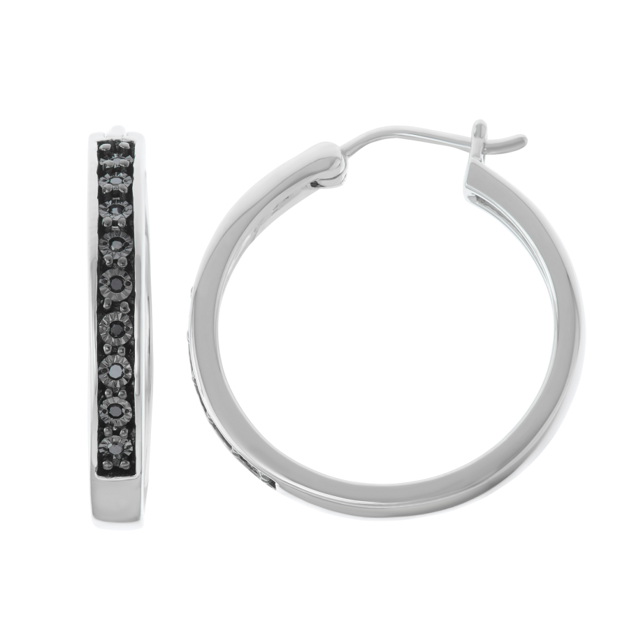 Hetal Diamonds 0.09cttw Illusion Plate Black Diamond Earrings In Sterling Silver
