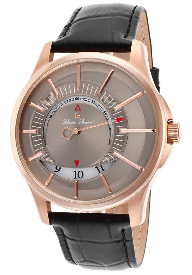Lucien Piccard Vertigo Mono-hand Dual-disc Mens Watch Lp-40024-rg-014 In Black,grey,red