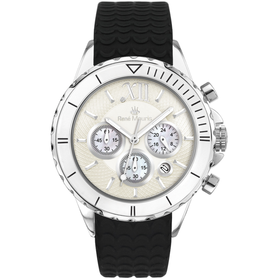 Rene Mouris Dream I Chronograph Two-tone Dial Ladies Watch 50108rm1 In Black,mother Of Pearl,silver Tone,two Tone,white