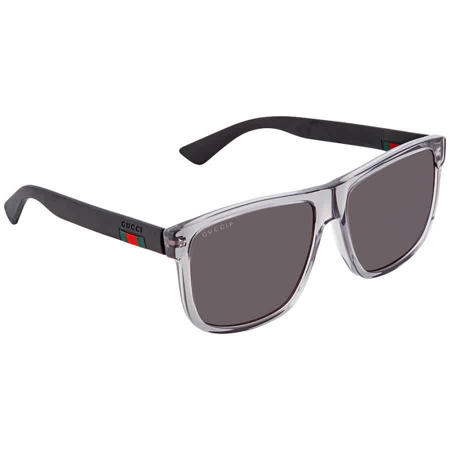 Gucci Grey Rectangular Polarized Mens Sunglasses Gg0010s 004 58