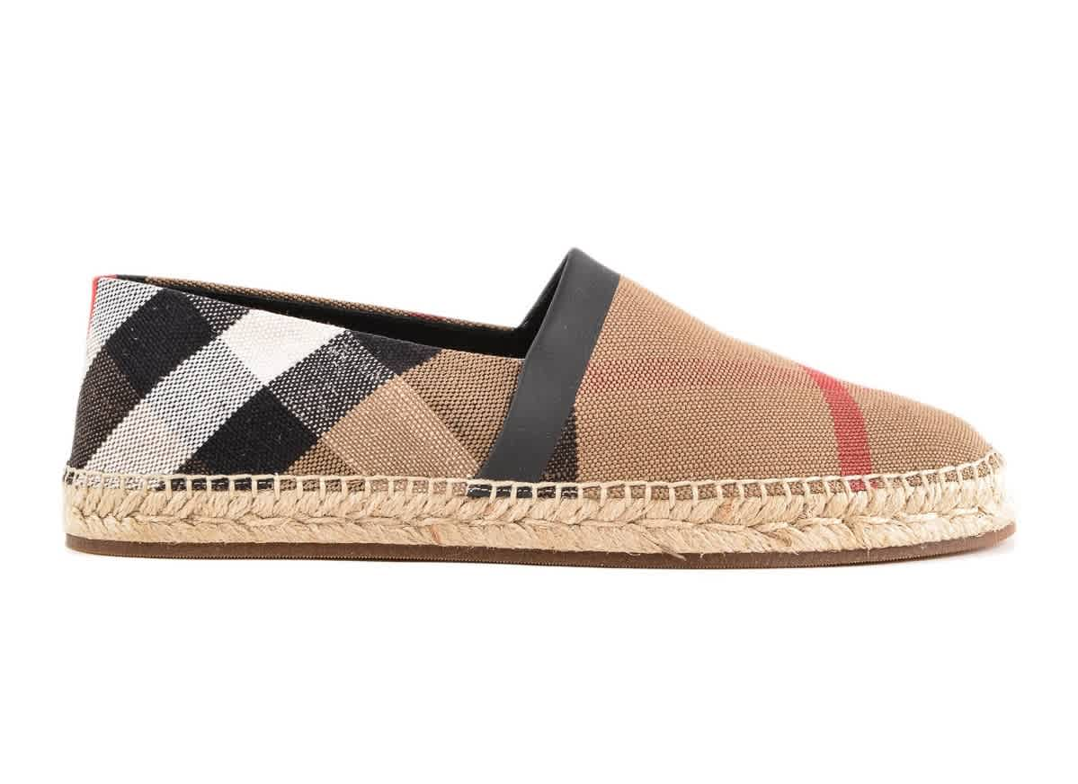 Burberry Mens Check Canvas Espadrilles In N,a