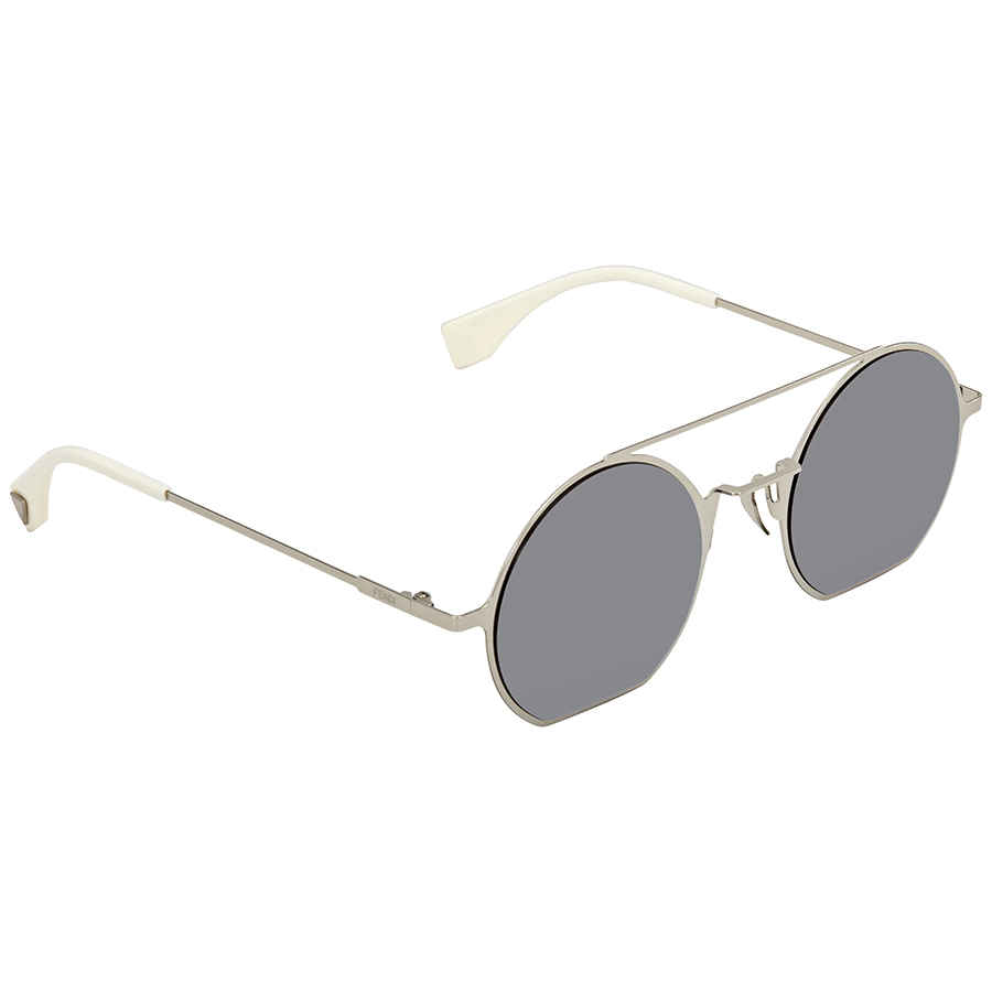 Fendi Eyeline Silver Mirror Round Ladies Sunglasses Ff 0291/s 010/dc 48 In Silver Tone