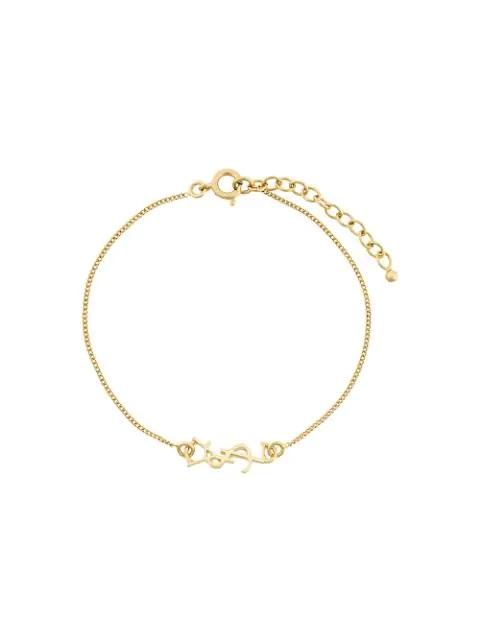 Saint Laurent Monogram Logo Bracelet In Gold Tone