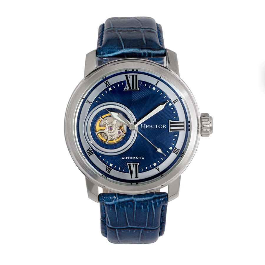 Heritor Maxim Automatic Blue Dial Blue Leather Mens Watch Herhr8603