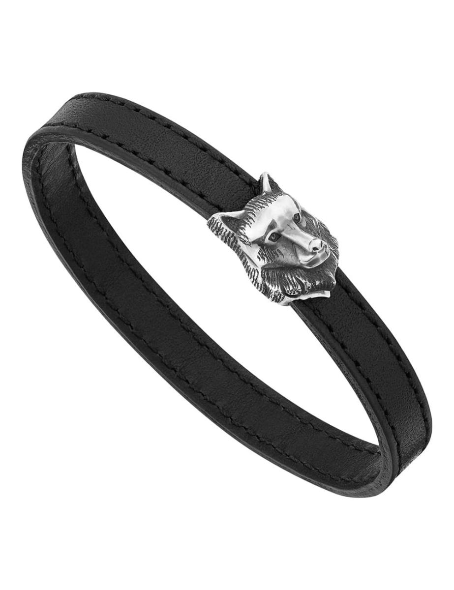 Montblanc Kipling Silver Wolf Bracelet In Black