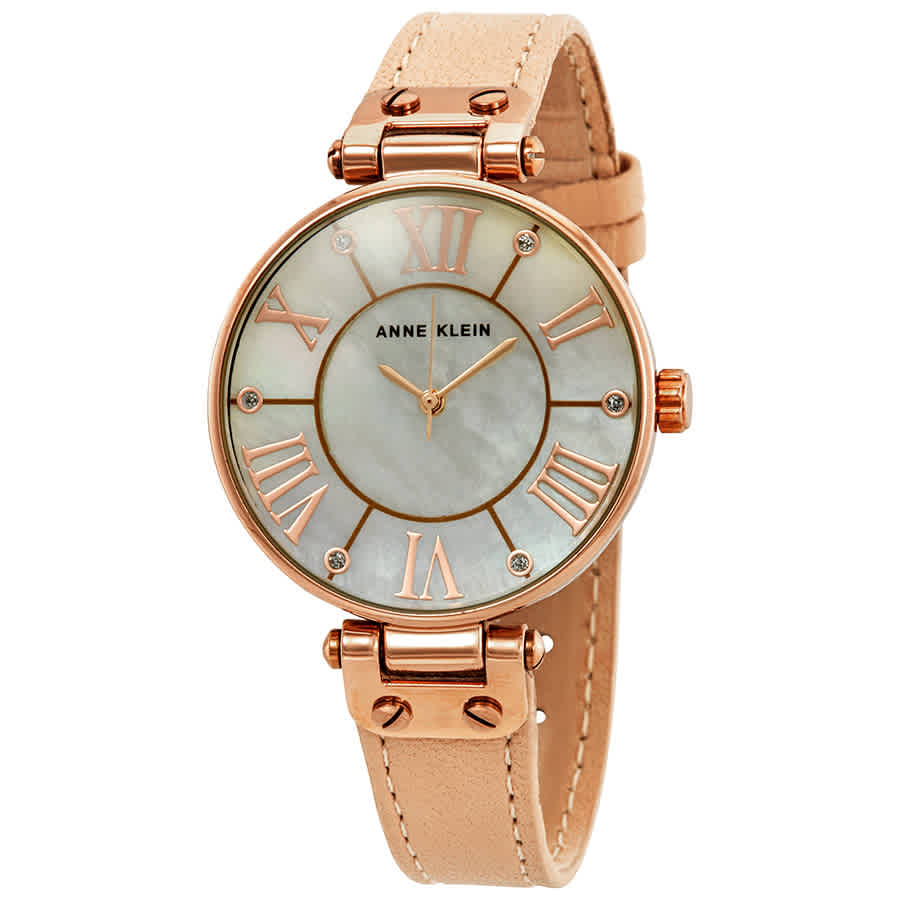 Anne Klein Pink Mother Of Pearl Dial Ladies Watch 10-9918rglp In Gold