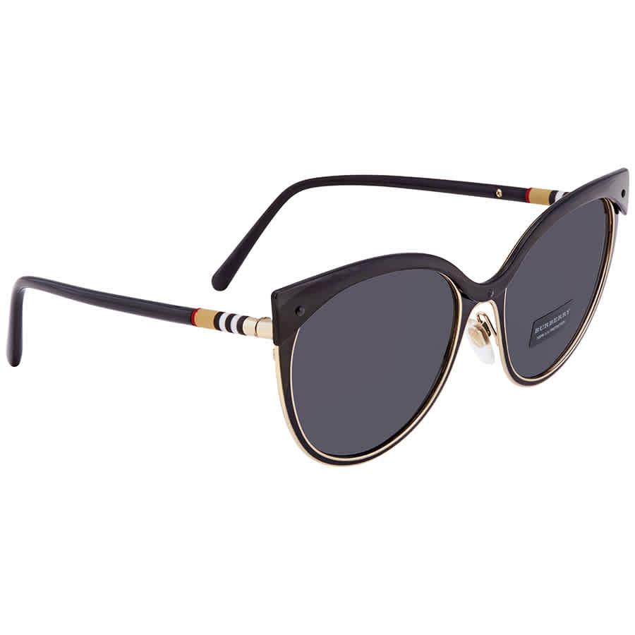 Burberry Tubular Check Grey Cat Eye Ladies Sunglasses Be3096 126287 In Black,grey