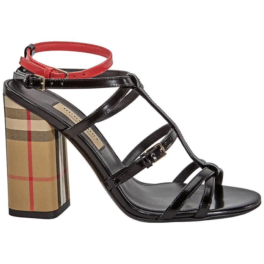 Burberry Ladies Black Strap Sandal Pump