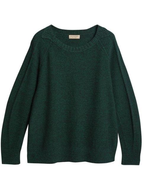 Burberry Melange Wool Sweater In Dark Forest Green
