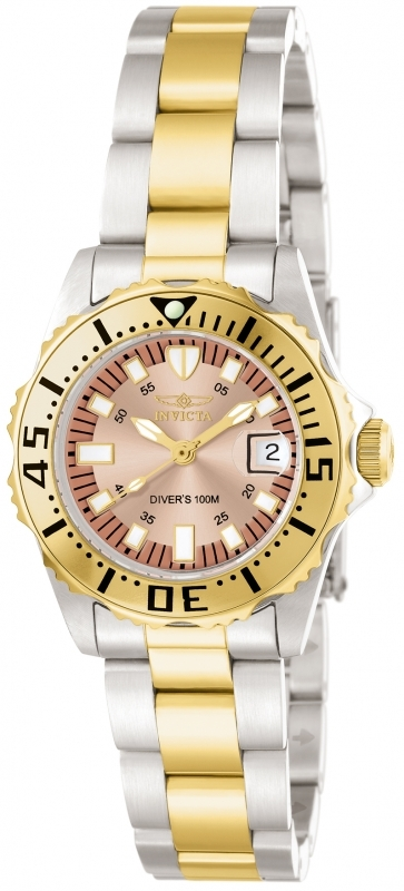Invicta Pro Diver Rose Dial Two-tone Ladies Watch 14370 In Gold