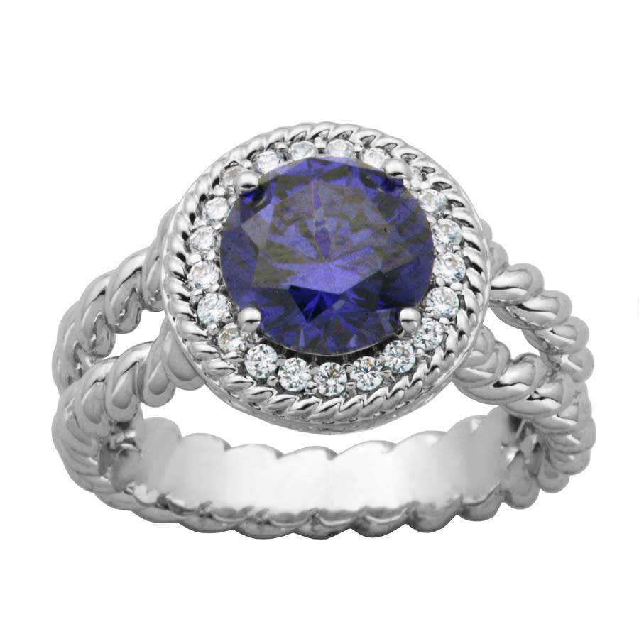 925 Couture Sterling Silver Tanzanite Cz Halo Double Rope Ring In Gray