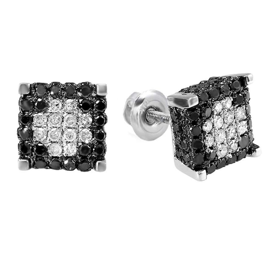 Dazzling Rock Dazzlingrock Collection 0.85 Carat (ctw) Mens Ladies Unisex Black & White Diamond Ice Cube Stud Earr In Black,silver Tone,white