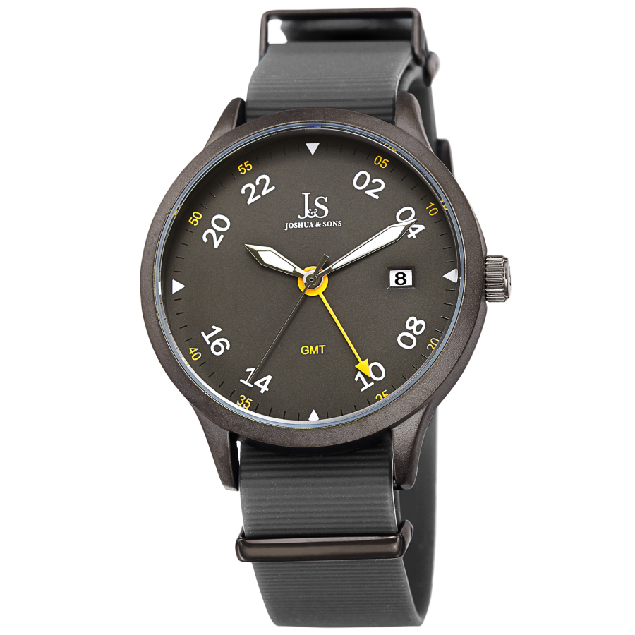 Joshua And Sons Gmt Grey Dial Mens Watch Jx147gn In Gray