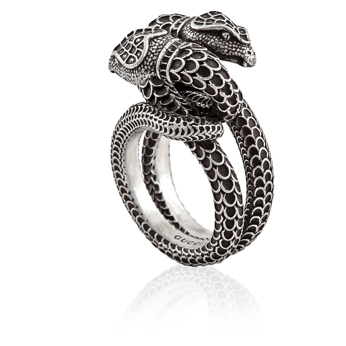 Gucci Snake Ring In Sterling Silver In Metallic