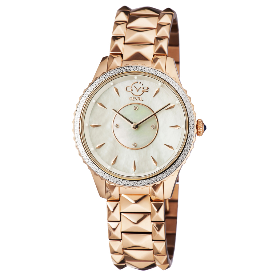 Gv2 By Gevril Siena Quartz White Dial Diamond Ladies Watch 11701-929 In Gold
