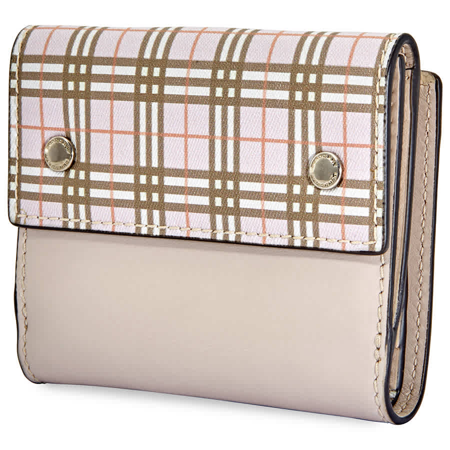 Burberry Small Scale Check And Leather Folding Wallet- Ice Pink In Neutrals