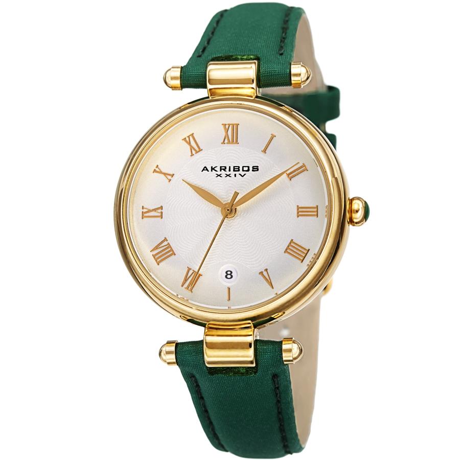 Akribos Xxiv Quartz White Dial Ladies Watch Ak1070gn In Green