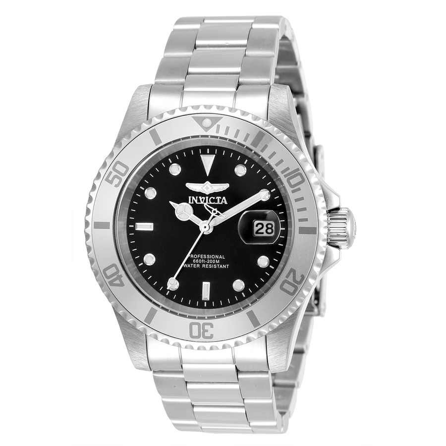 Invicta Pro Diver Quartz Black Dial Mens Watch 34022 In Black,silver Tone,white